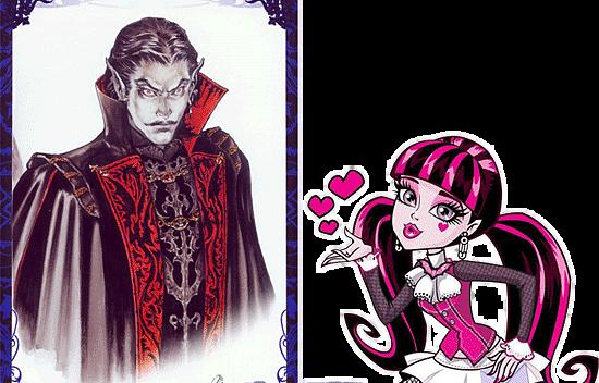 Приемный отец Дракулауры граф Дракула и любящая его Draculaura